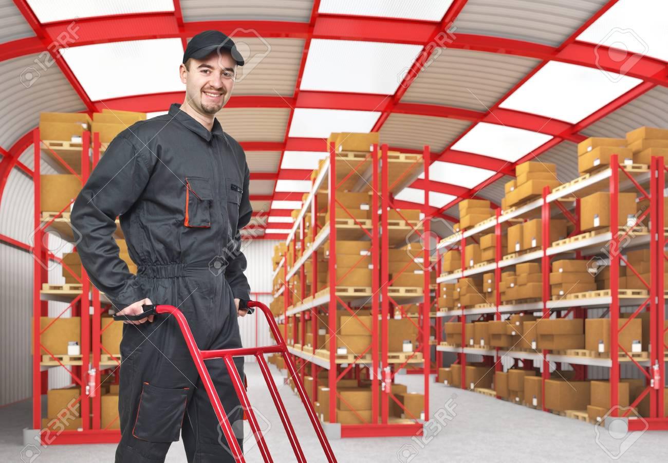 smiling caucasian man in classic warehouse 3d Stock Photo - 9147329