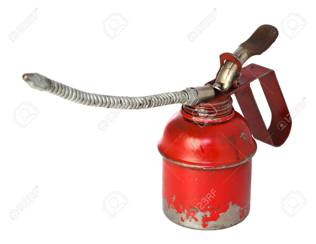 closeup image of classic red oiler on white background Stock Photo - 9214543