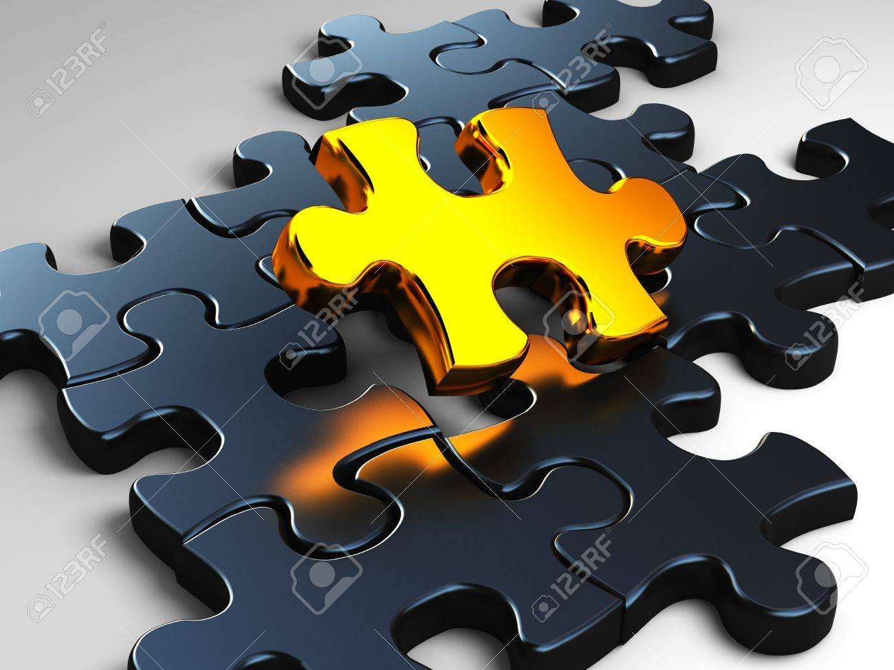fine 3d image of golden piece of jigsaw Stock Photo - 9359561