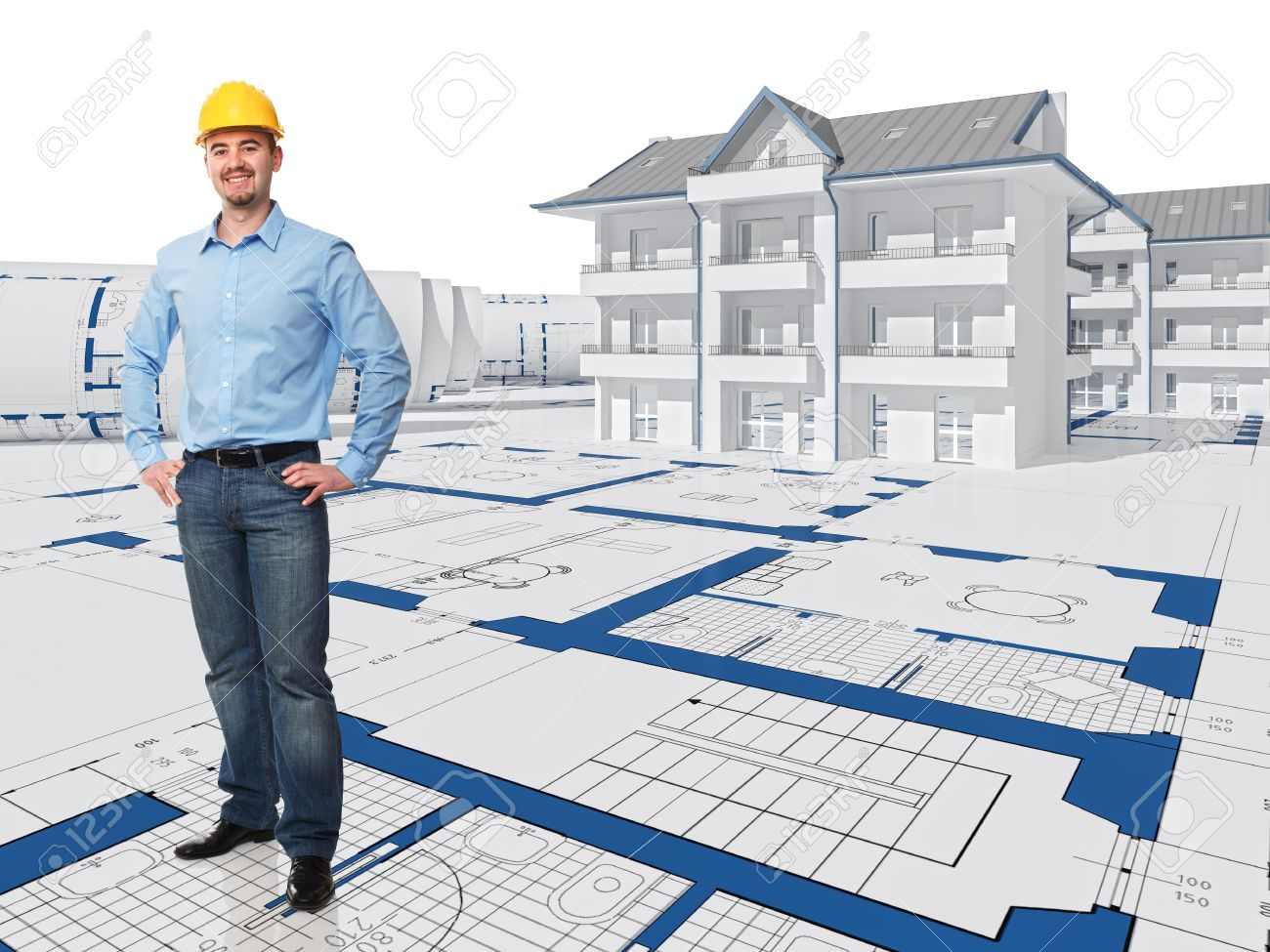 smiling architect and 3d project house stock photo picture and