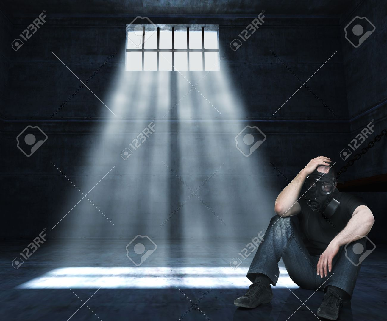 man with gas mask in 3d prison Stock Photo - 9852887