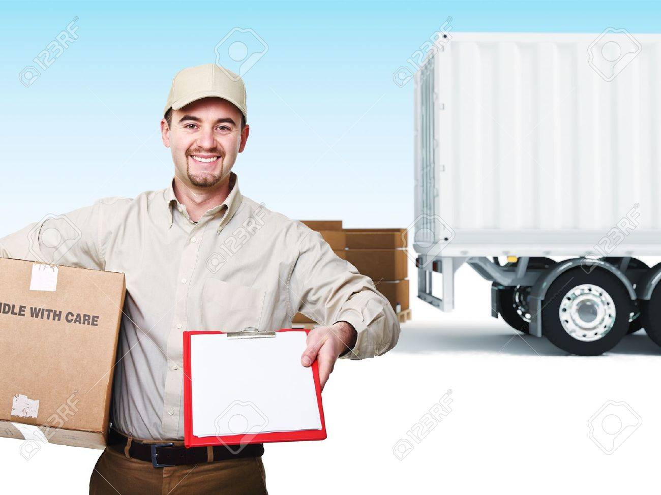 portrait of delivery man and truck background Stock Photo - 9853137
