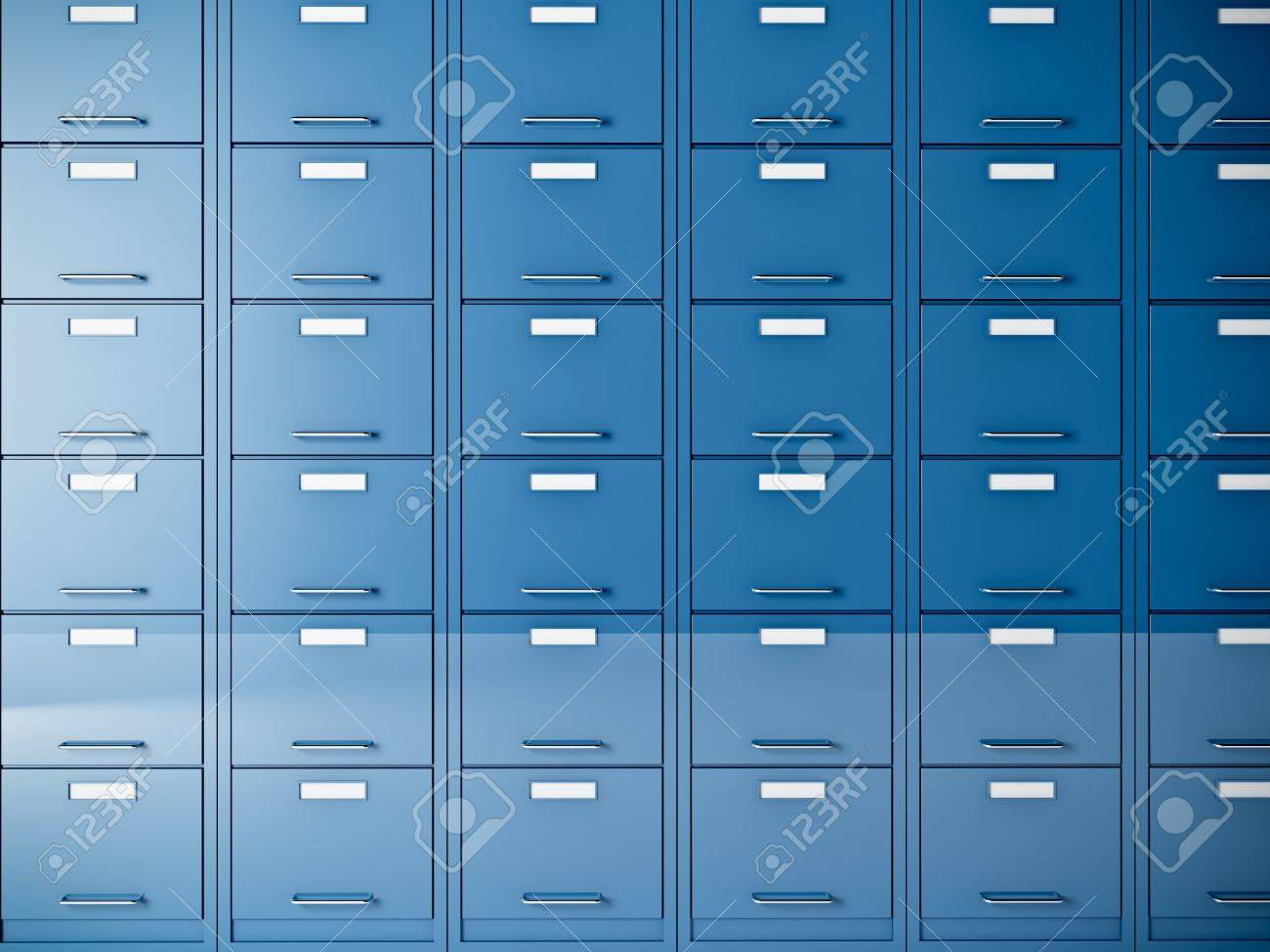 fine 3d image of blue file cabinet Stock Photo - 10659397