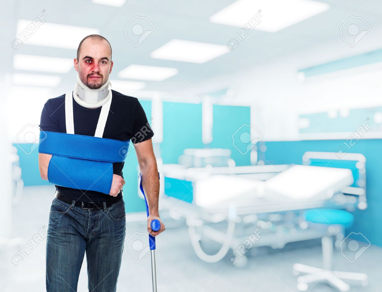 Portrait Of Caucasian Injured Man In Hospital Stock Photo, Picture ...