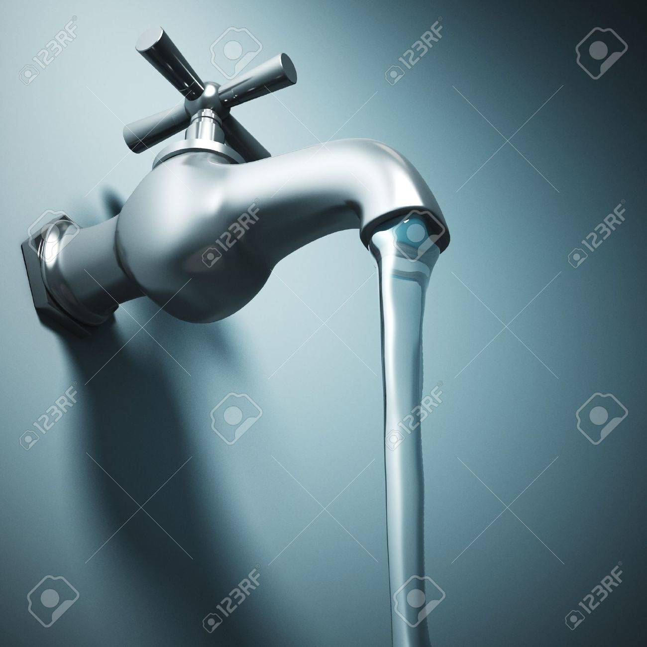 3d Image Of Metal Tap And Running Water Stock Photo, Picture And ...