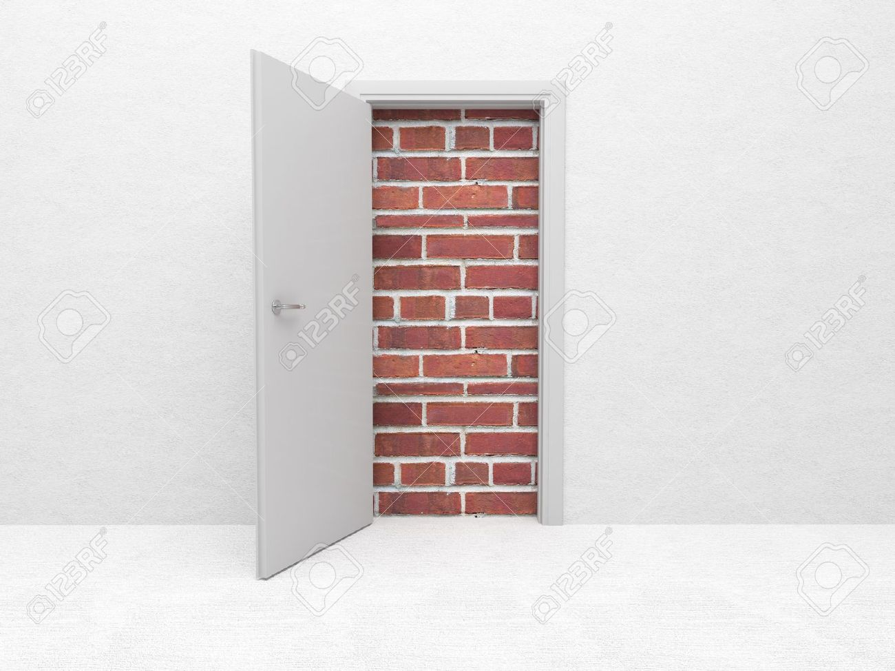 white open door and brick wall 3d Stock Photo - 12381484 & White Open Door And Brick Wall 3d Stock Photo Picture And Royalty ... Pezcame.Com
