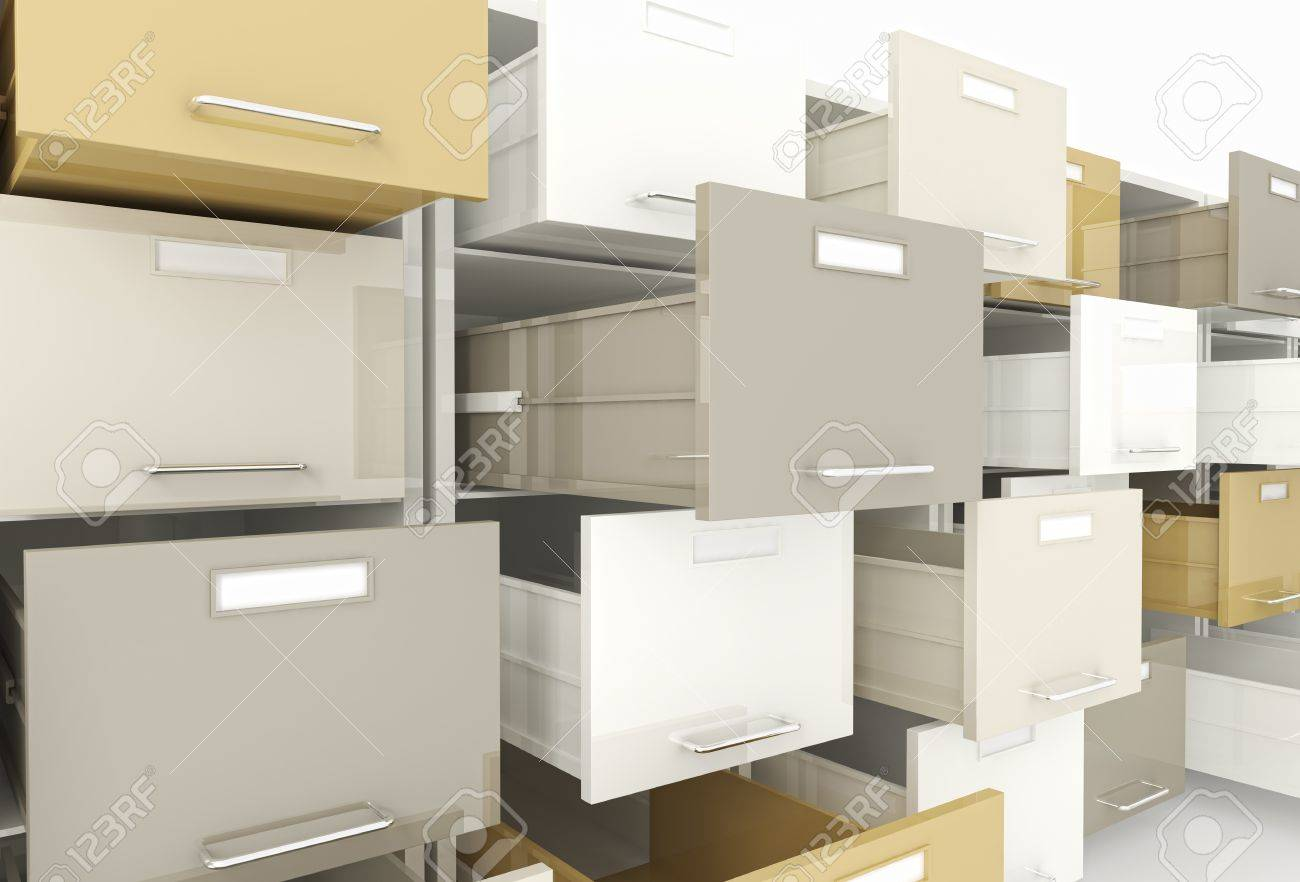 3d Image Of Open Drawer Of File Cabinet Stock Photo, Picture And ...