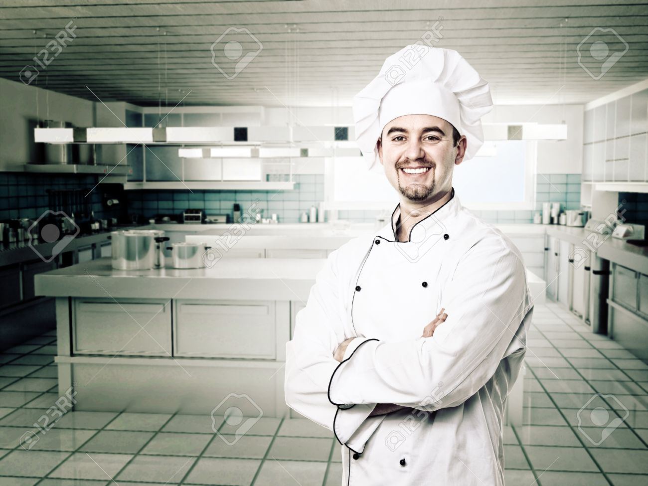 Chef Portrait And Moden Kitchen Background Stock Photo, Picture And ...