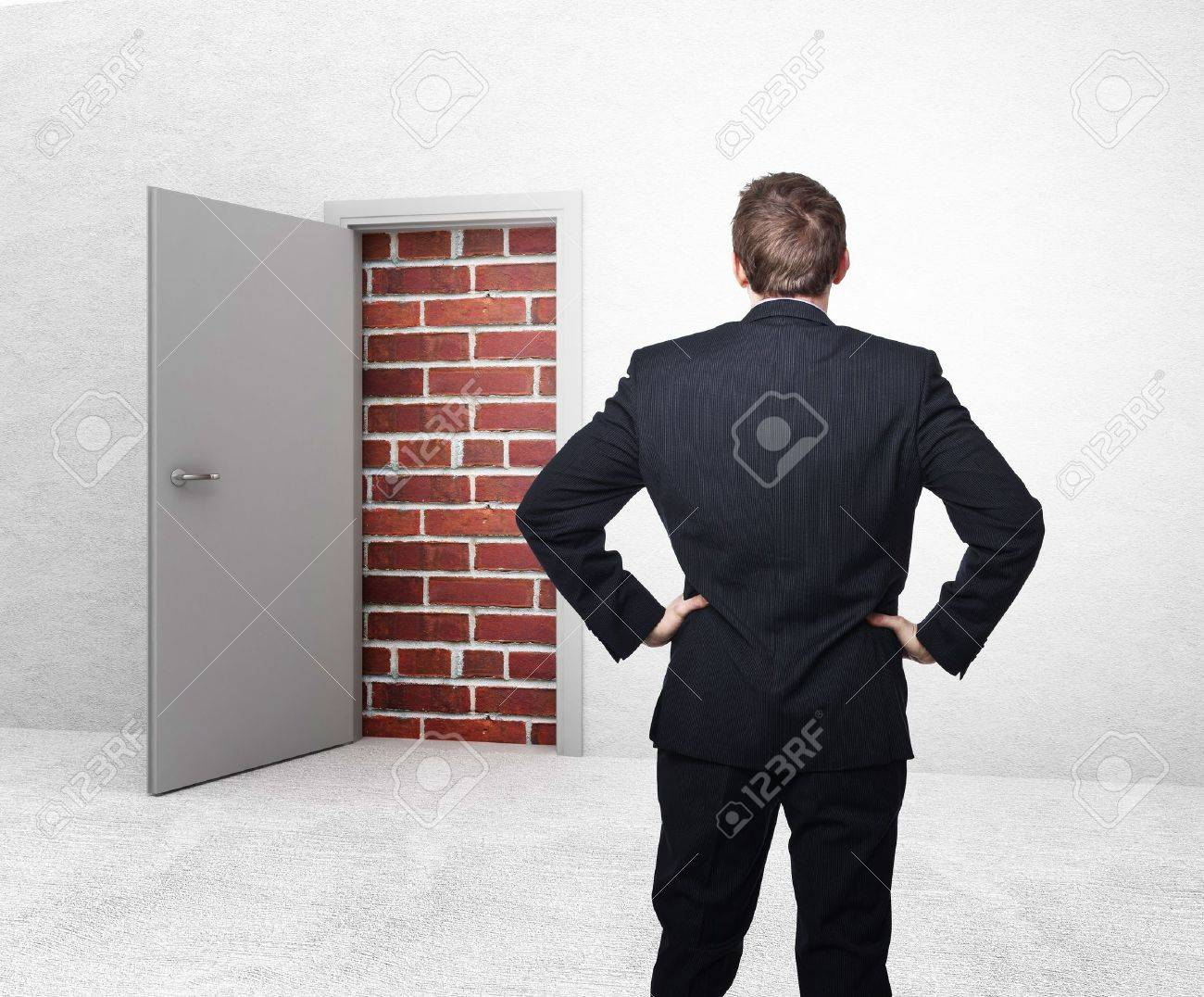 white open door and brick wall 3d Stock Photo - 12381367