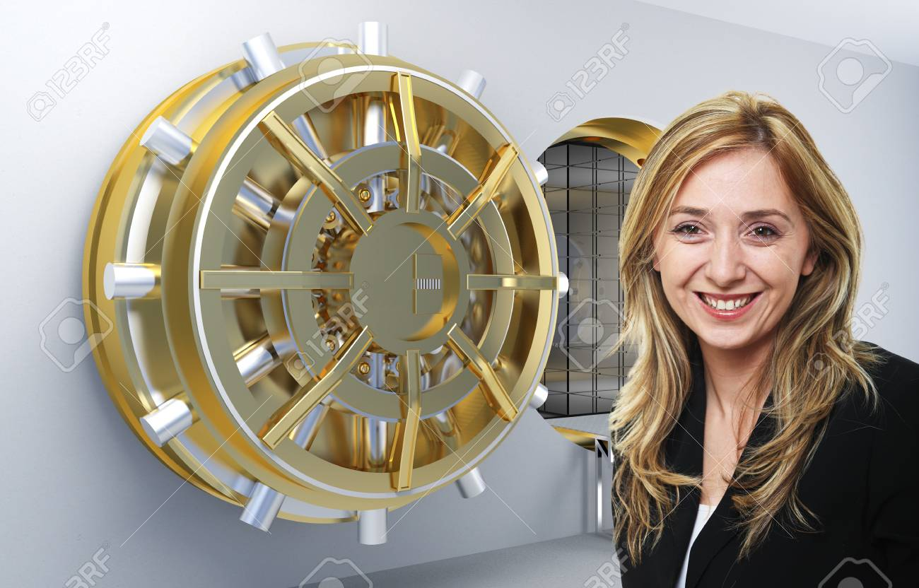 smilinmg woman and vault background Stock Photo - 12667514