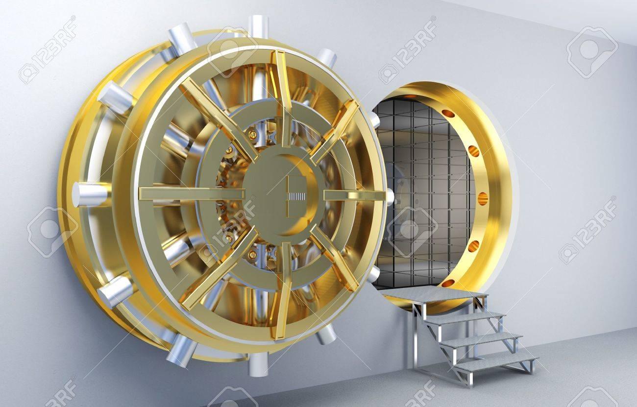 3d image of vault with golden door Stock Photo - 12703854