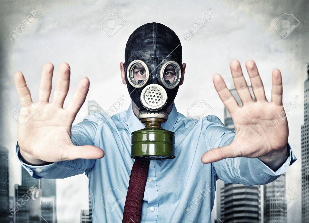 businessman with gas mask stop posture - 14035392