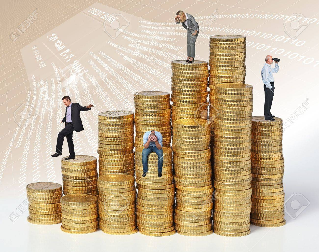 business people on coin piles Stock Photo - 14741720