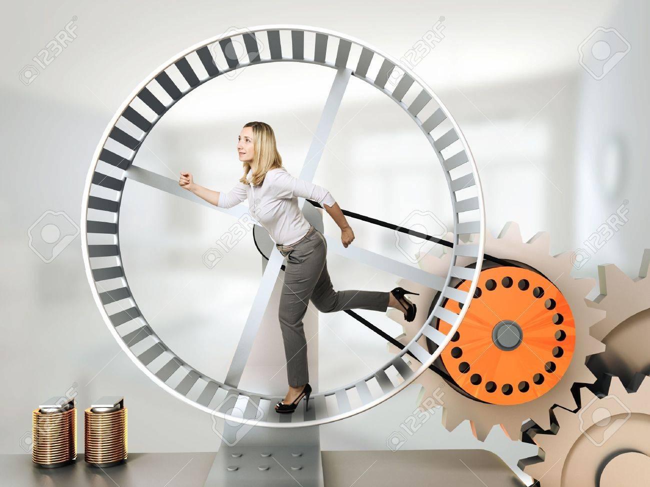 running woman on 3d hamster wheel Stock Photo - 14741683
