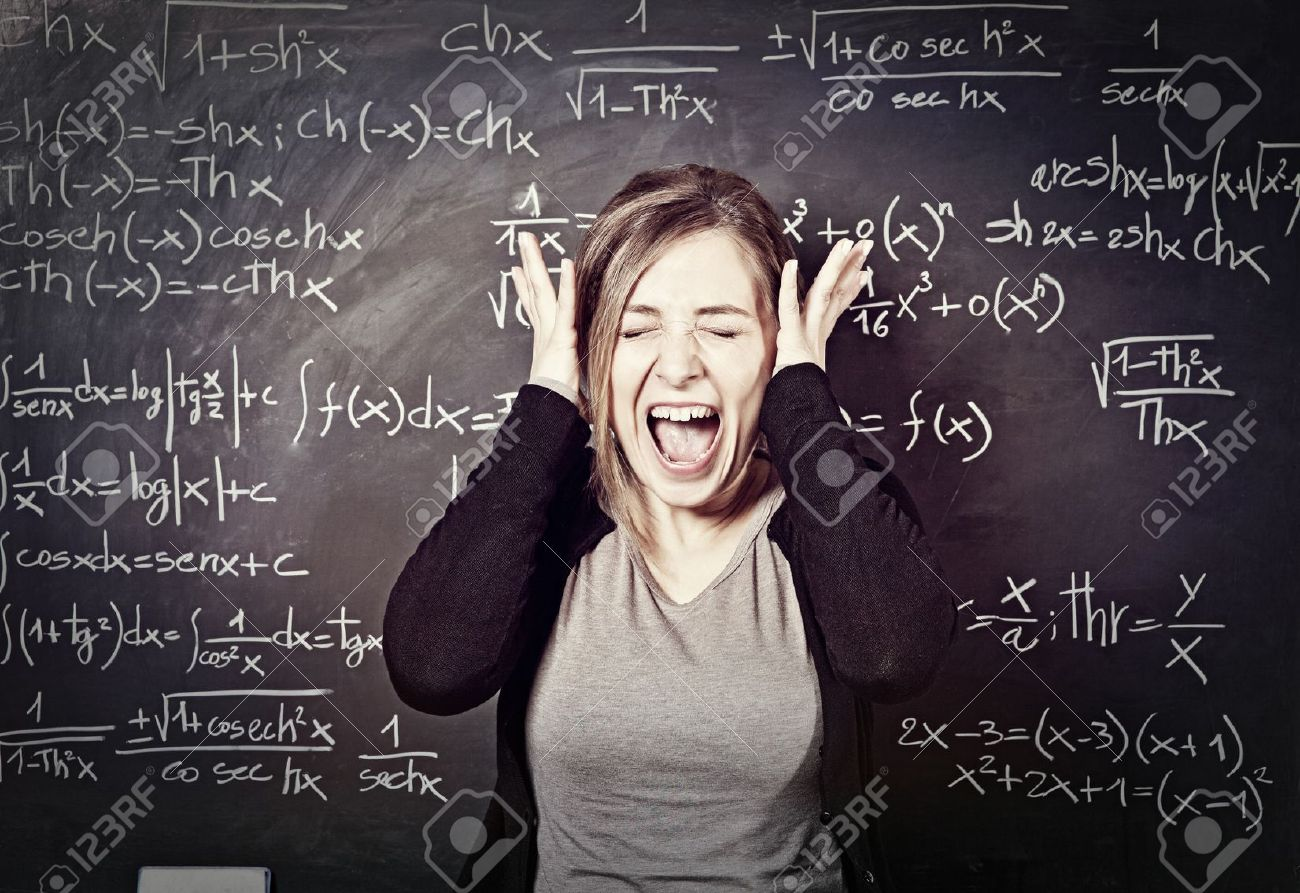 Portrait Of Stressed Teacher And Blackboard Background Stock Photo ...