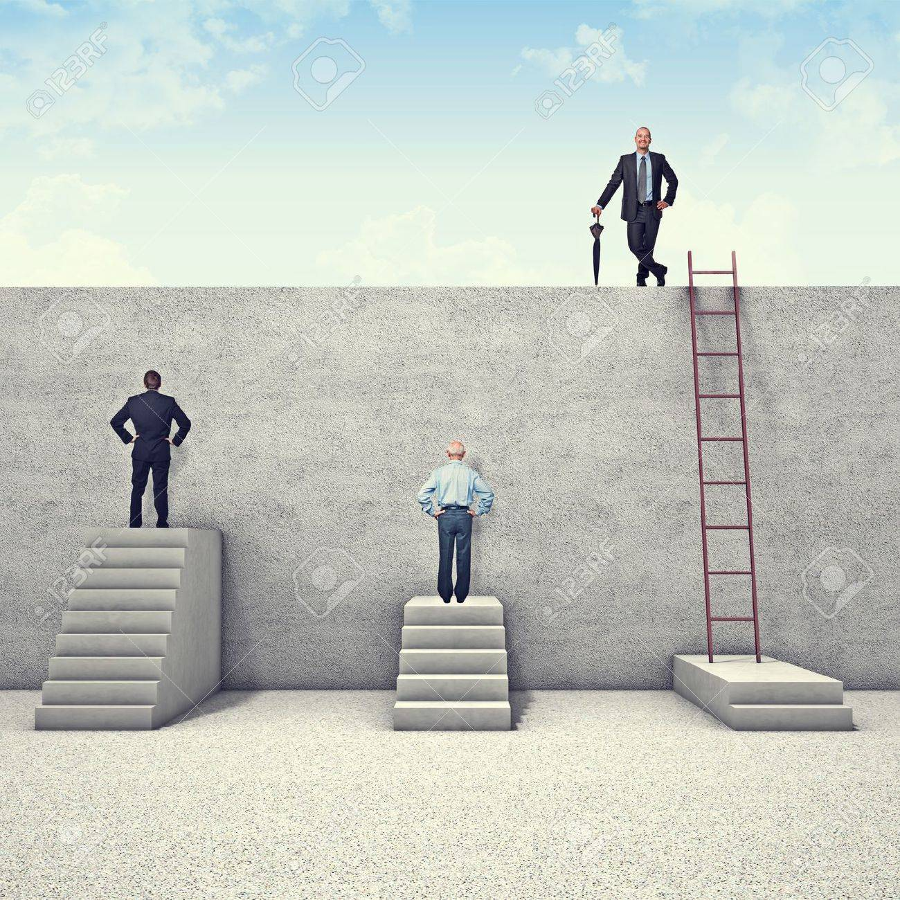 business people and metaphoric obstacle Stock Photo - 17418642