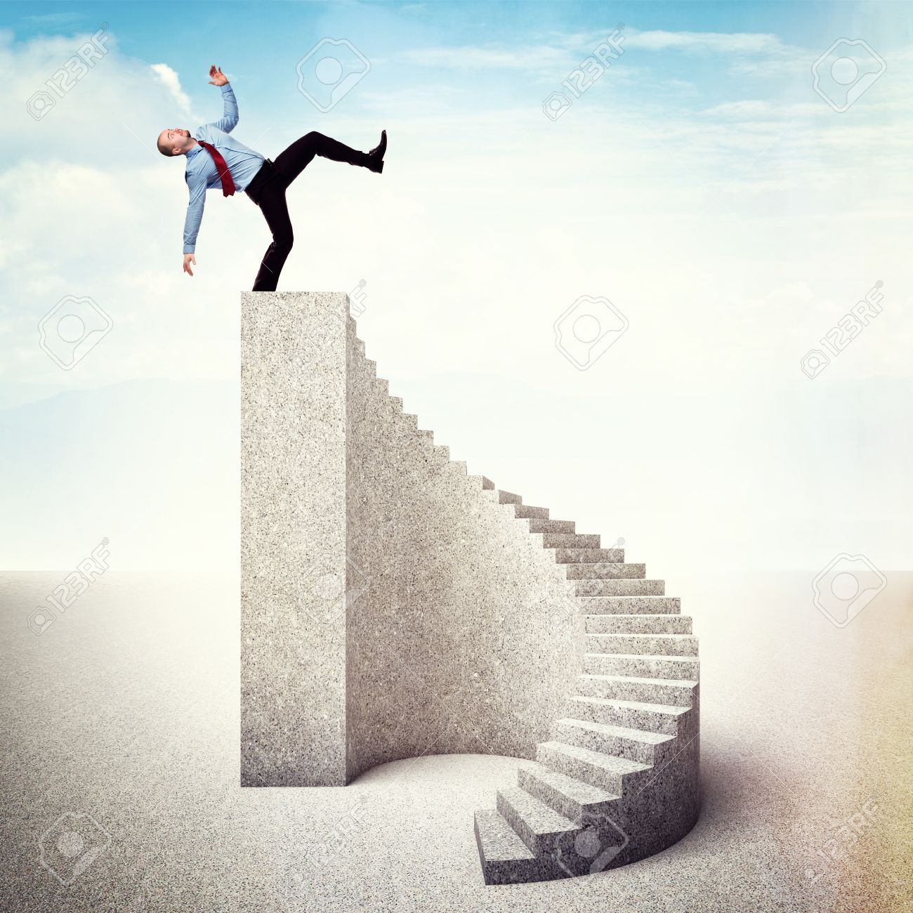 Man On Stair Near To Fall Down Stock Photo