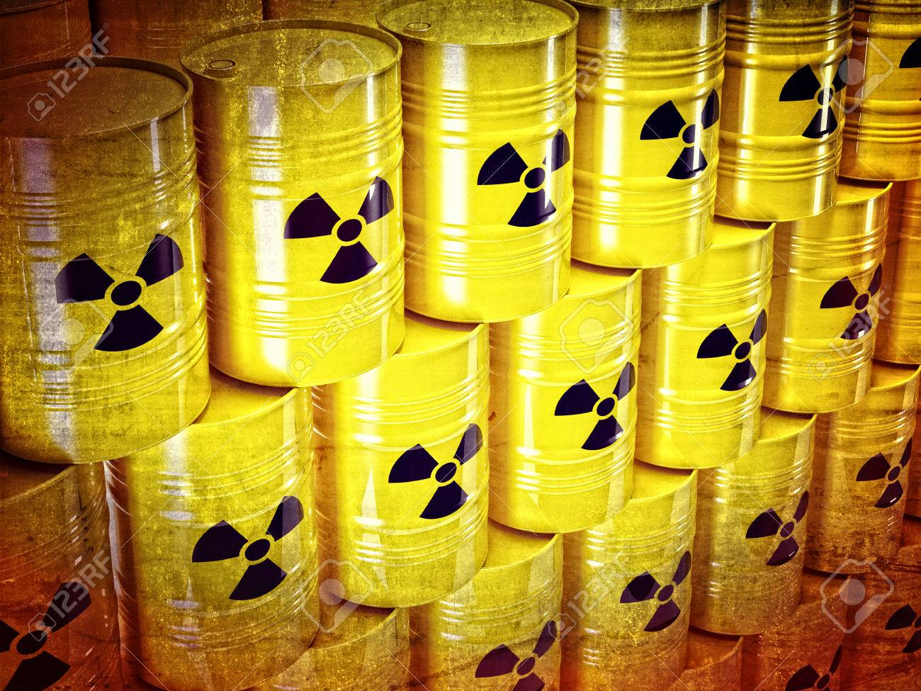 background of 3d yellow barel and radioactive sign Stock Photo - 24038462