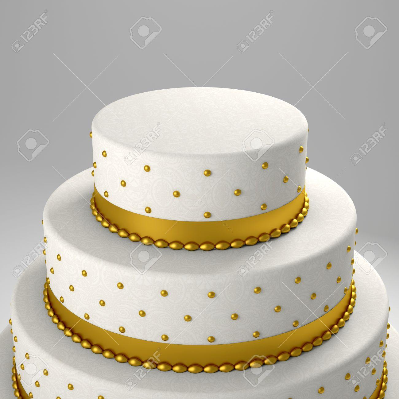 golden wedding cake 3d image