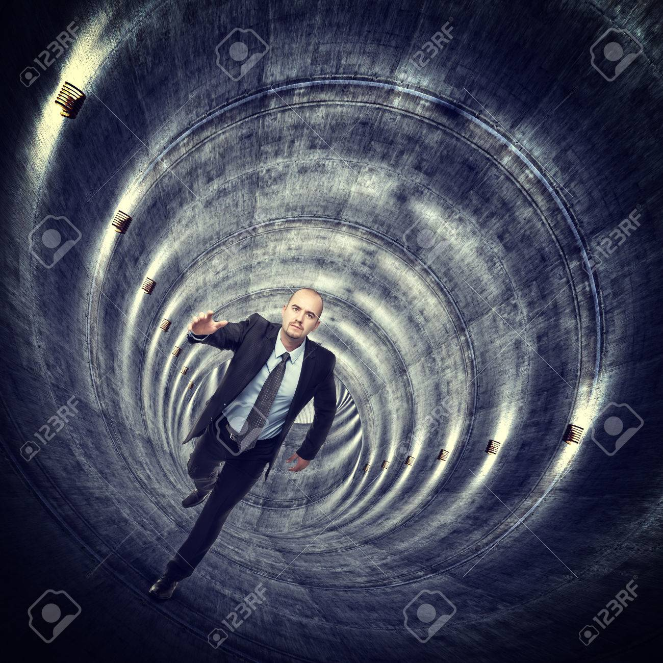 running man in concrete long tunnel Stock Photo - 30026547