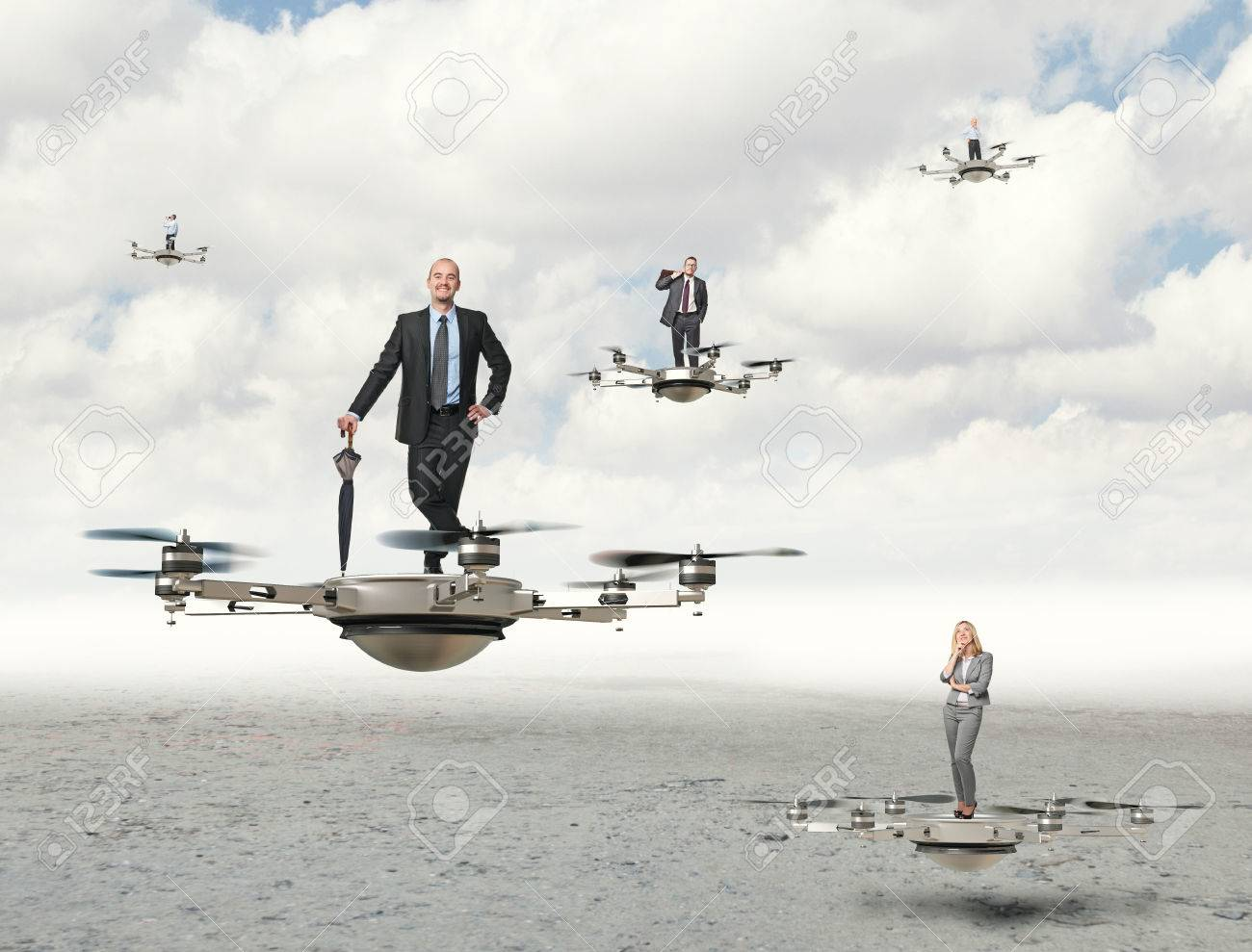 3d Image Of Futuristic Drone And Business People Stock Photo