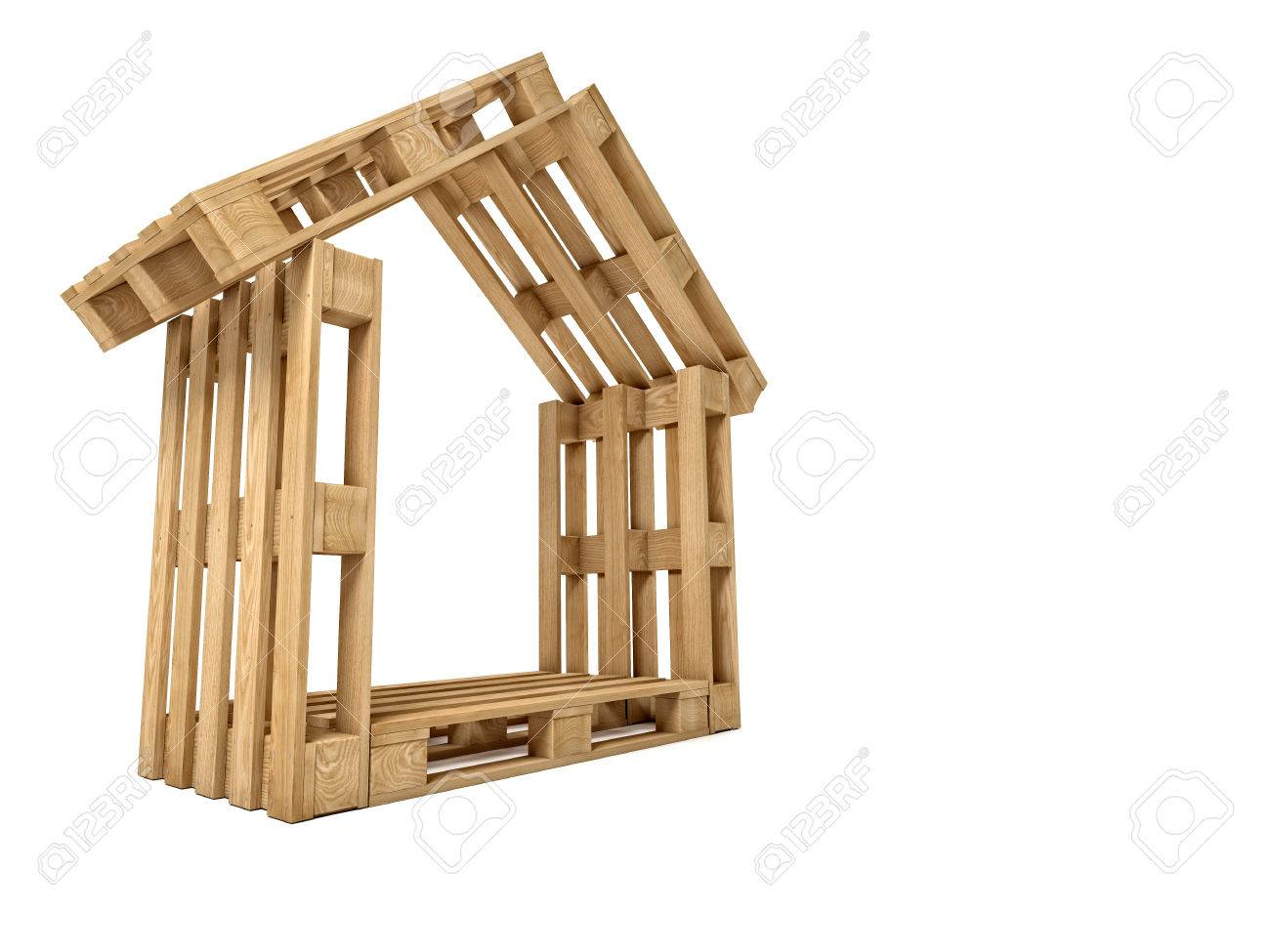 Wood Pallet House Abstract 3d Wood Pallet House Stock Photo Picture And Royalty
