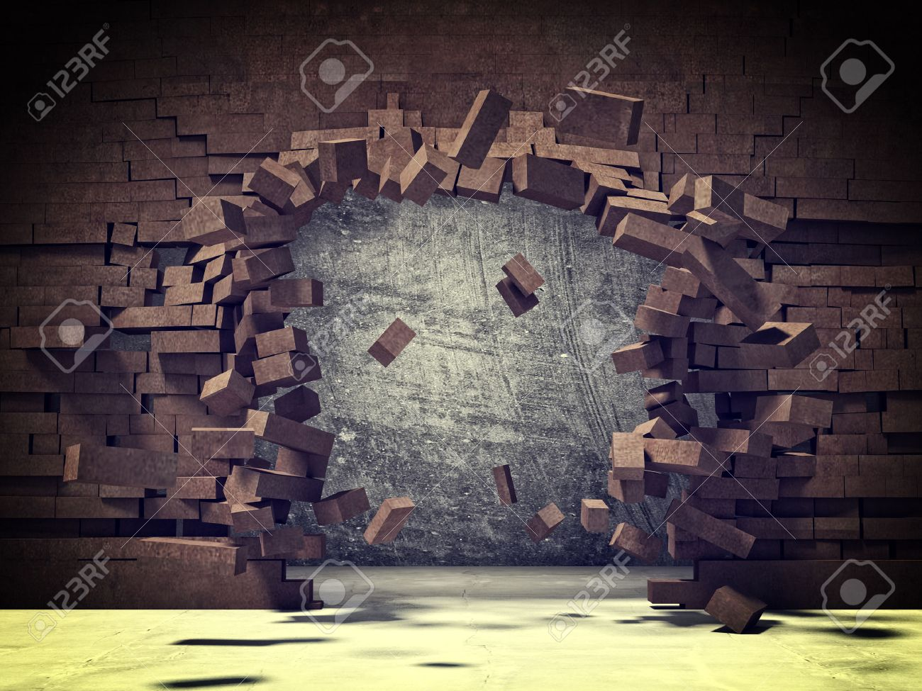 explosion of brick 3d wall - 41045764