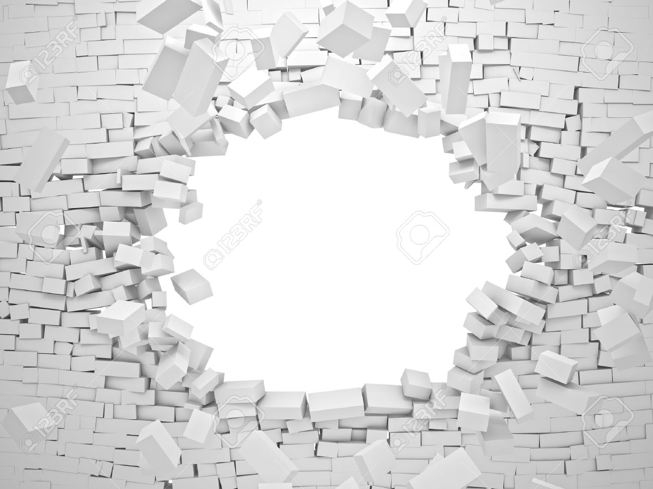 breaking wall brick 3d image - 41045765