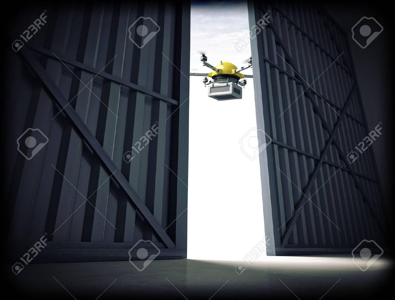 3d image of huge hangar doors and drone - 41152834