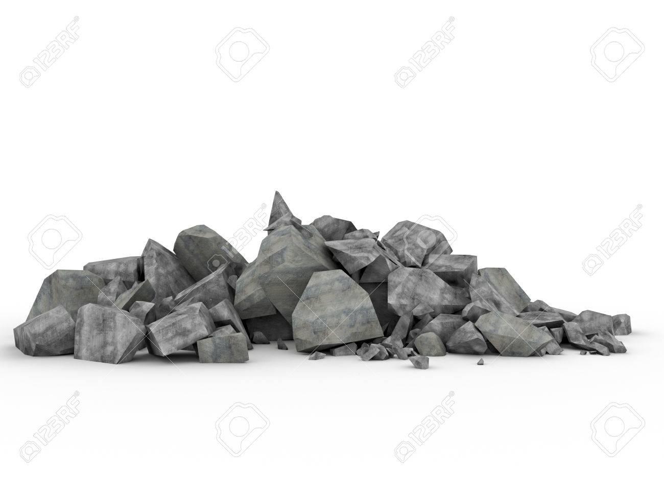 3d image of concrete rubble on white - 41152881