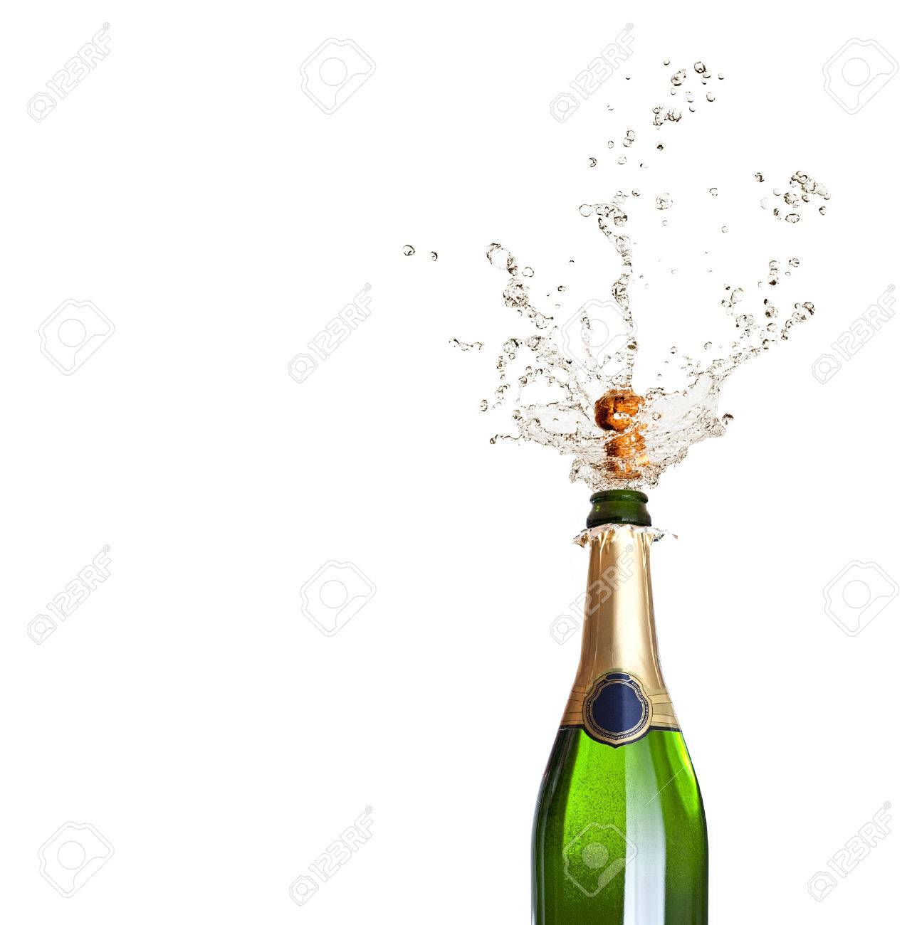 detail of popping champagne on black background - 46058790
