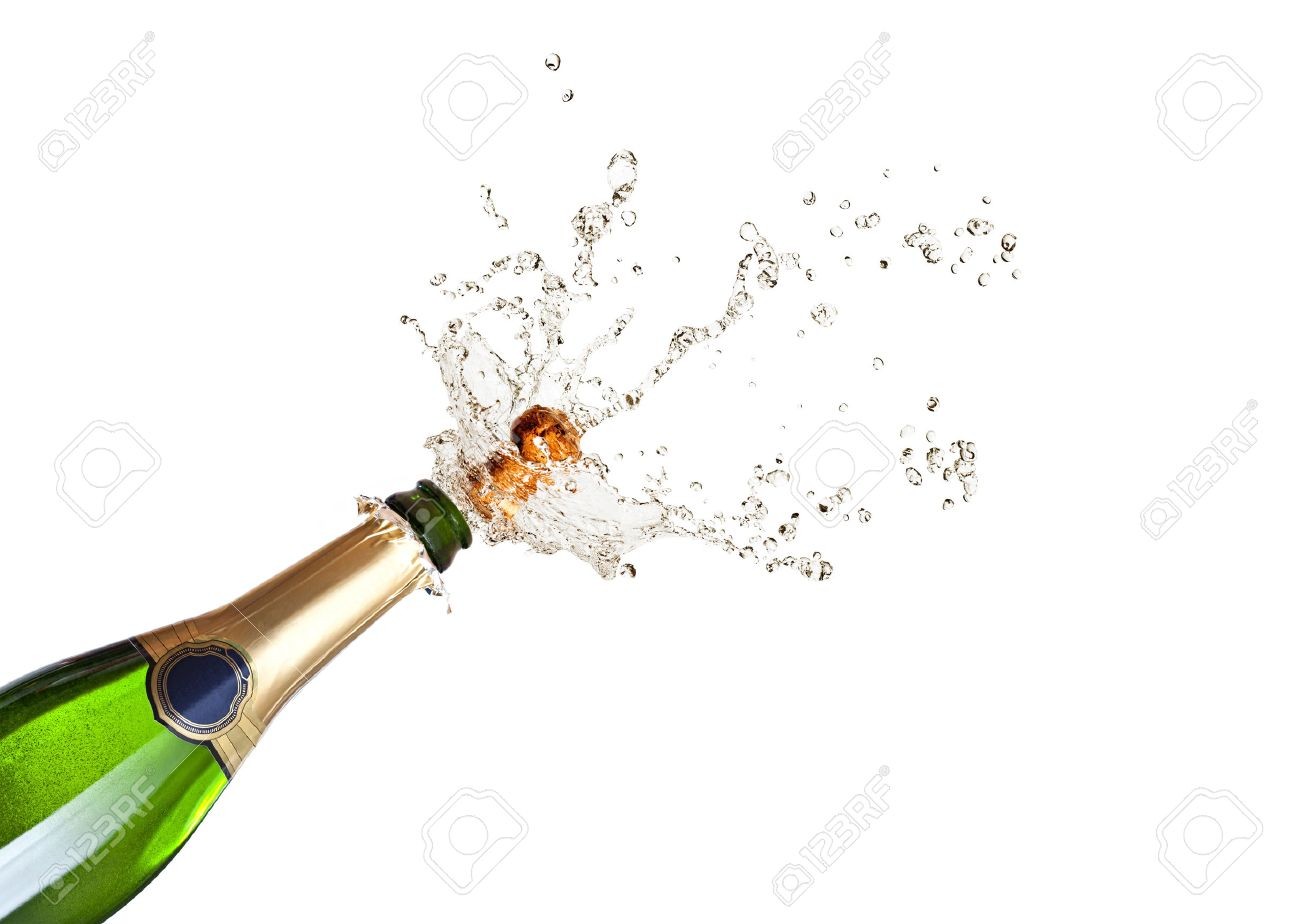 detail of popping champagne on black background - 46058812