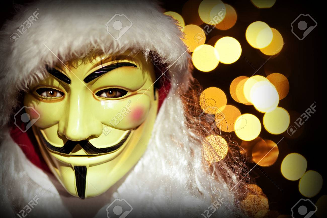 christmas image hacker with mask and santa clothes - 48096209