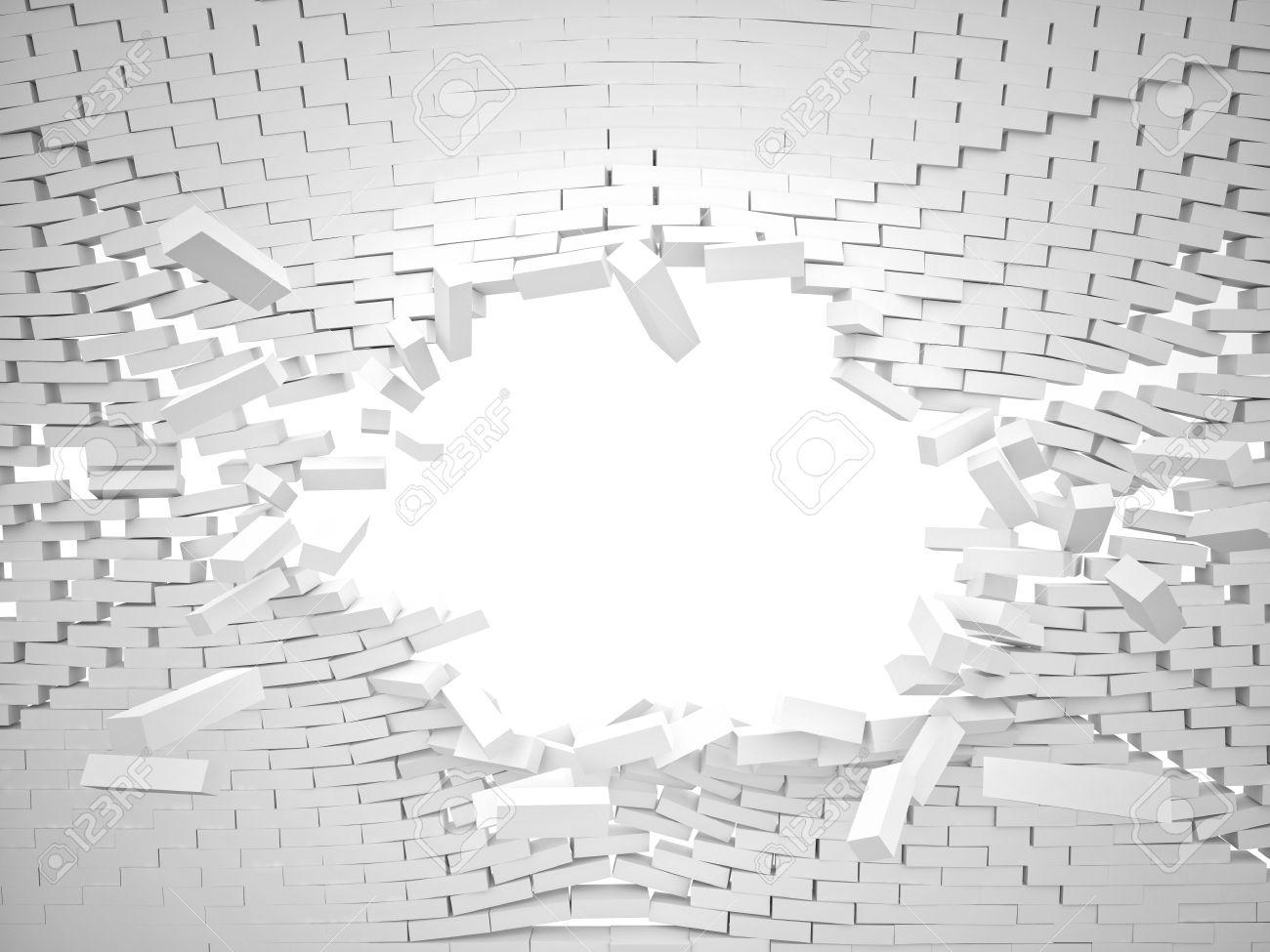 3d destroy white brick wall - 52851540