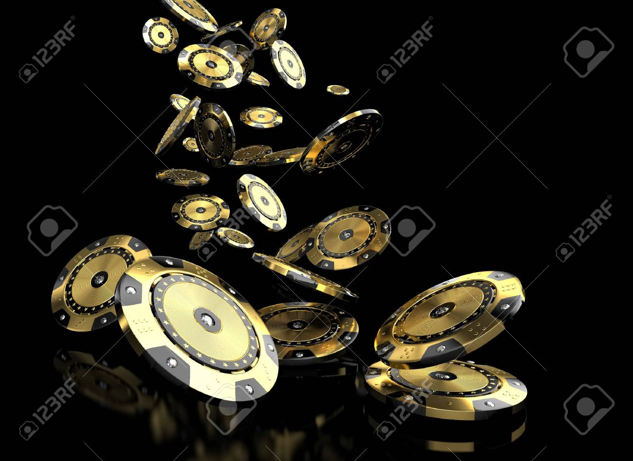 luxury casino chip gold and diamond 3d rendering image - 71965796