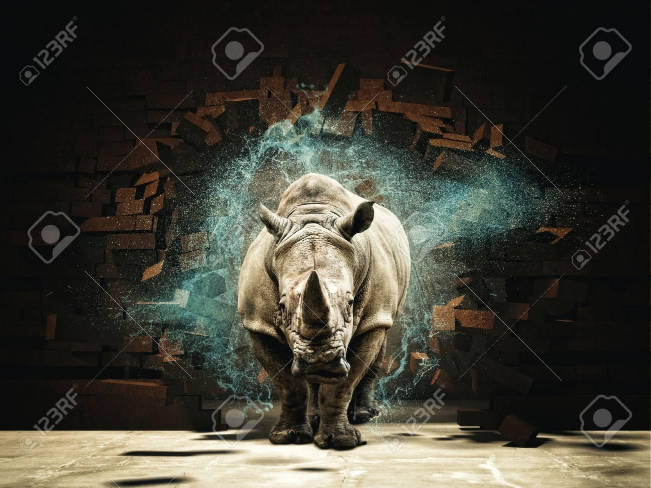 rhino destroy brick wall 3d rendering image - 73014030