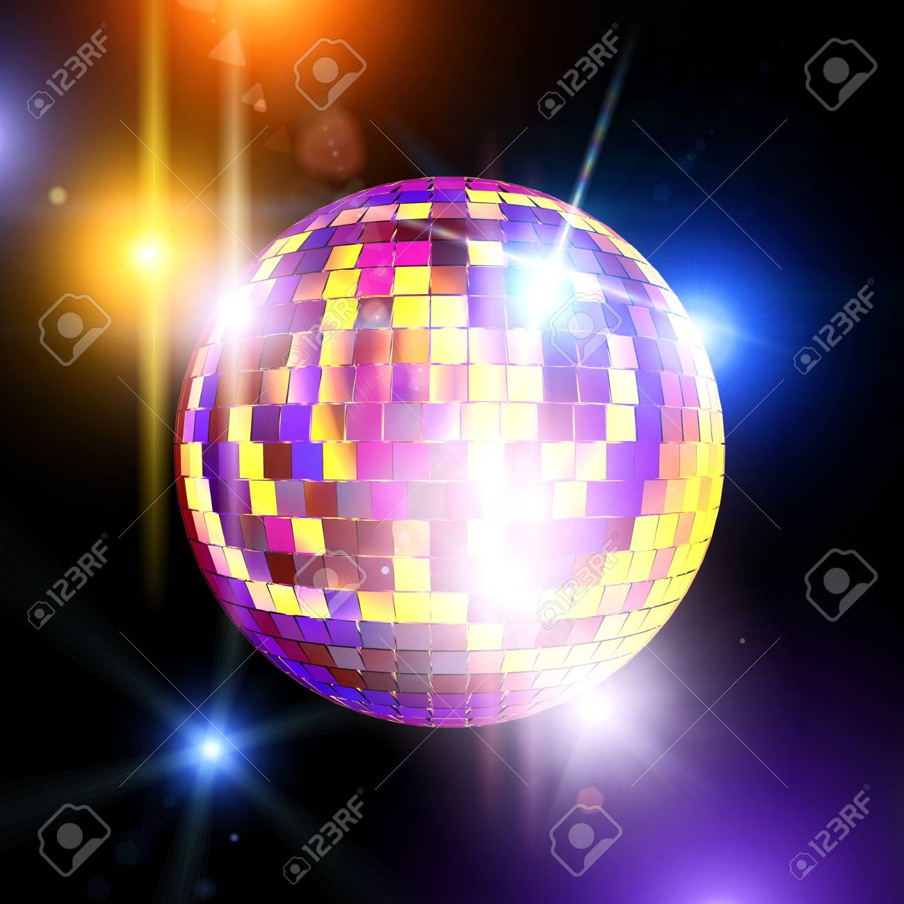 mirror ball and disco lights 3d rendering image stock photo picture