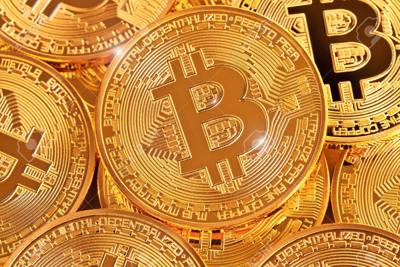golden coin of bitcoin virtual money concept - 76483948