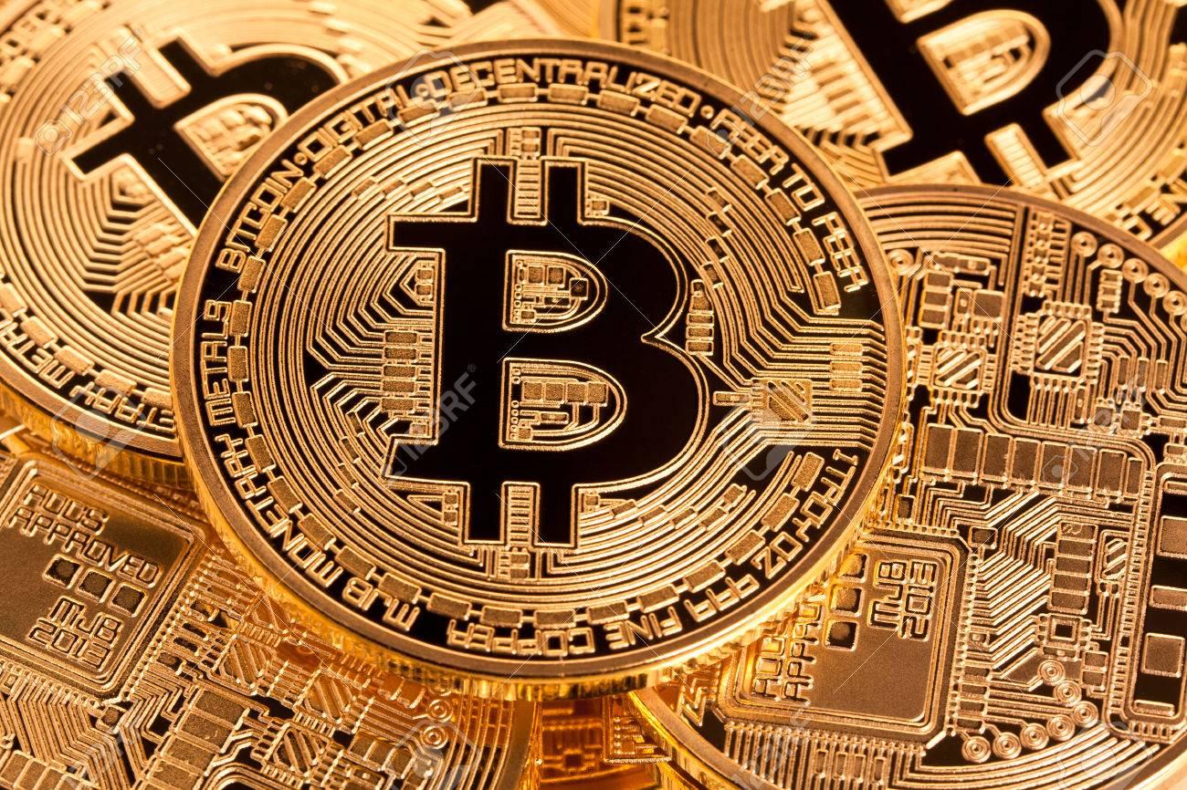 golden coin of bitcoin virtual money concept - 76462886