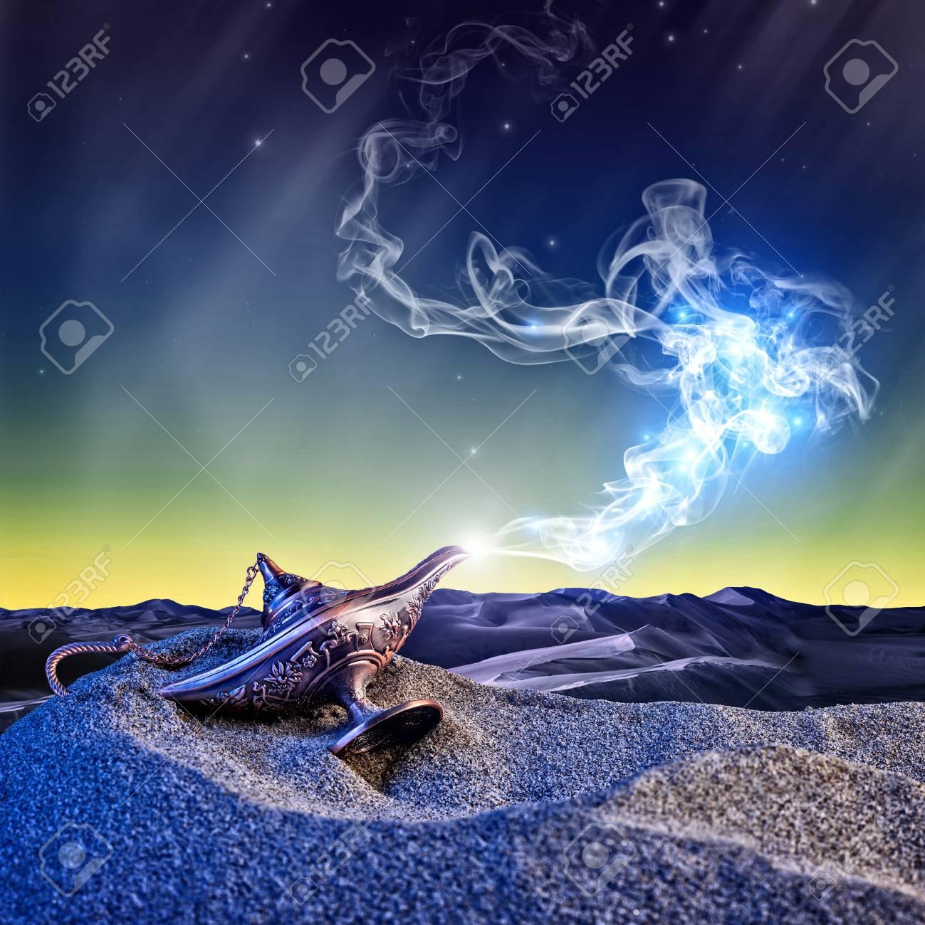 classic aladdin magic lamp in the desert night scene - 80353835