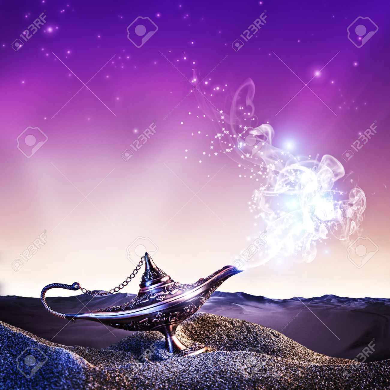 Magic Aladdin Lamp In The Desert At Night Time Stock Photo, Picture ... for Aladdin Desert Background  131fsj