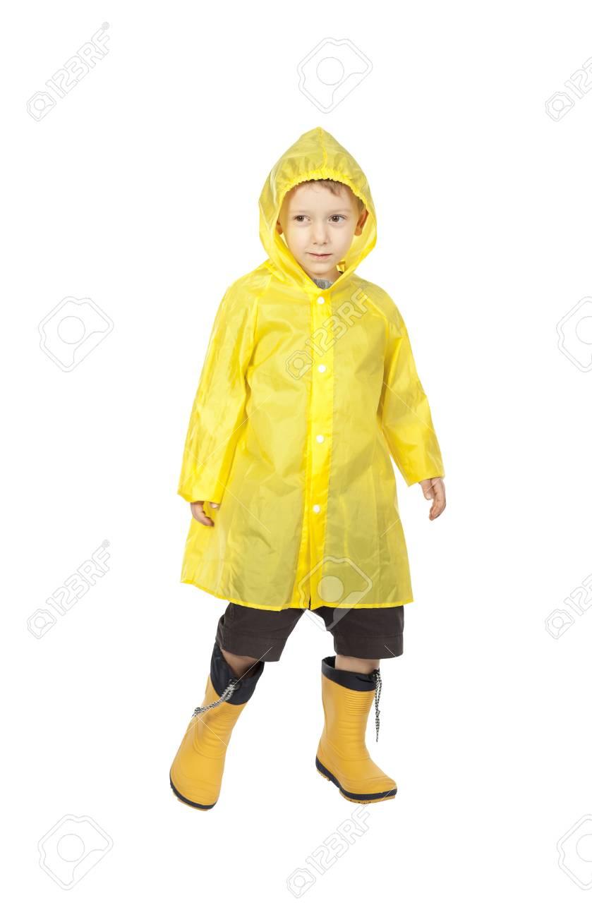 45f838061 Child With Raincoat Isolated On White Background Stock Photo ...
