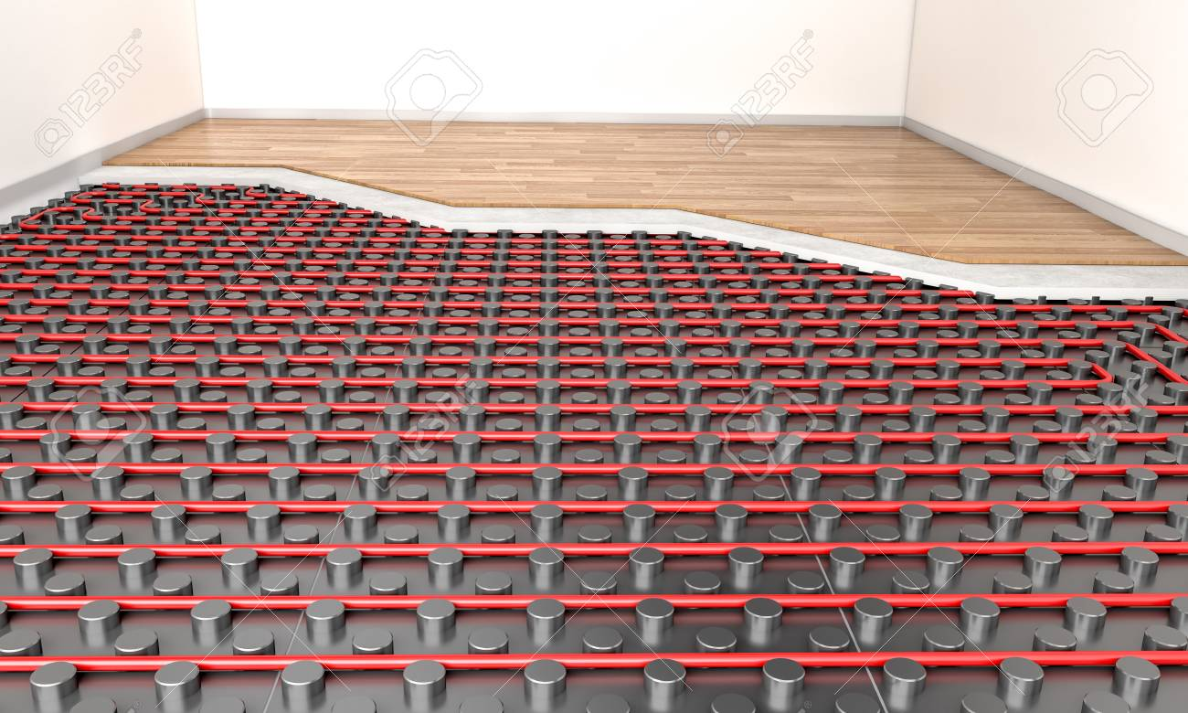 detail of heater floor panel and wood parquet 3d rendering image - 97103782