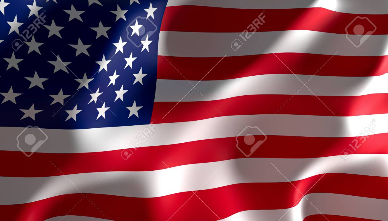 3d image rendering of a united states of america flag - 124479647