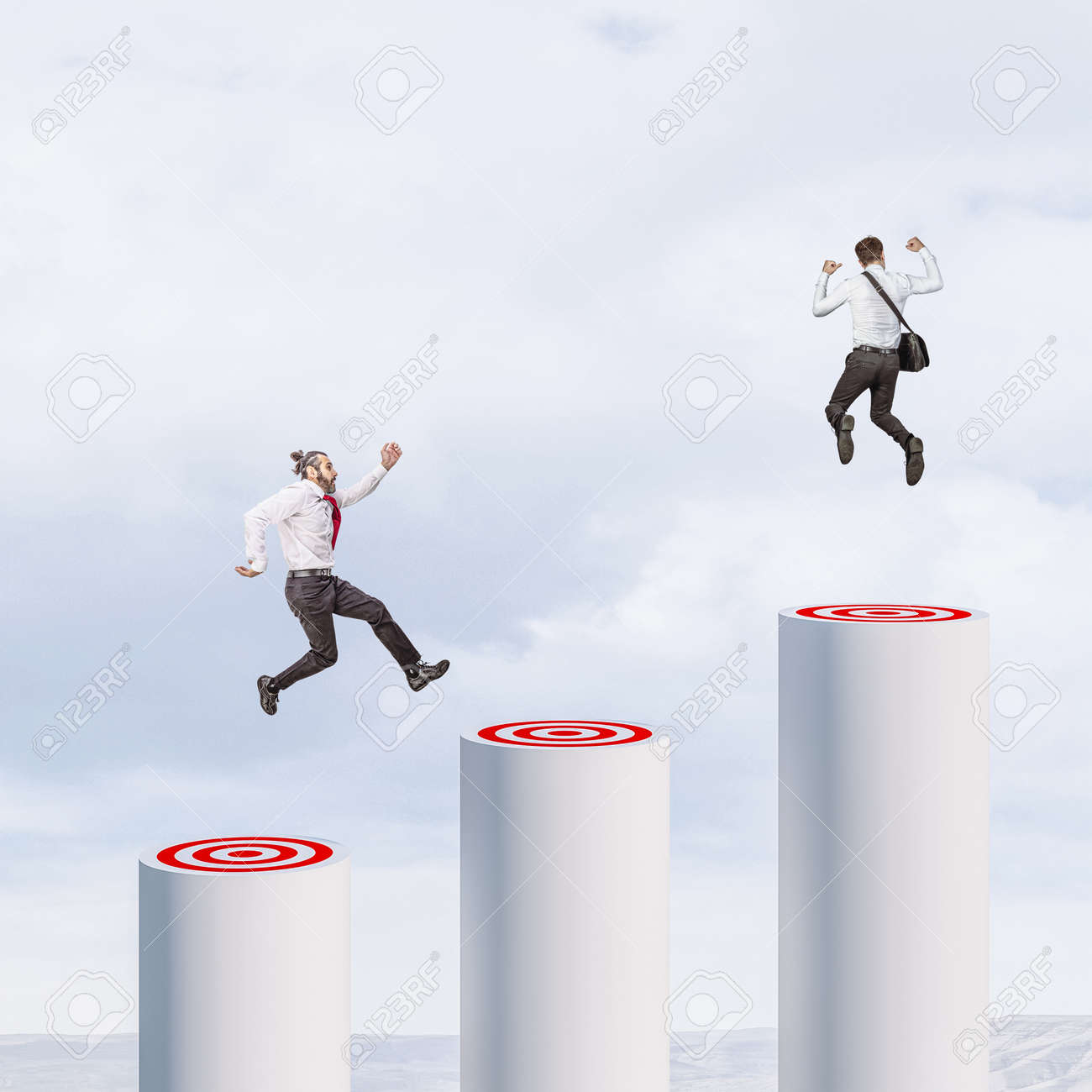 businesspeople jumping from one goal to another. business success concept. - 171105591
