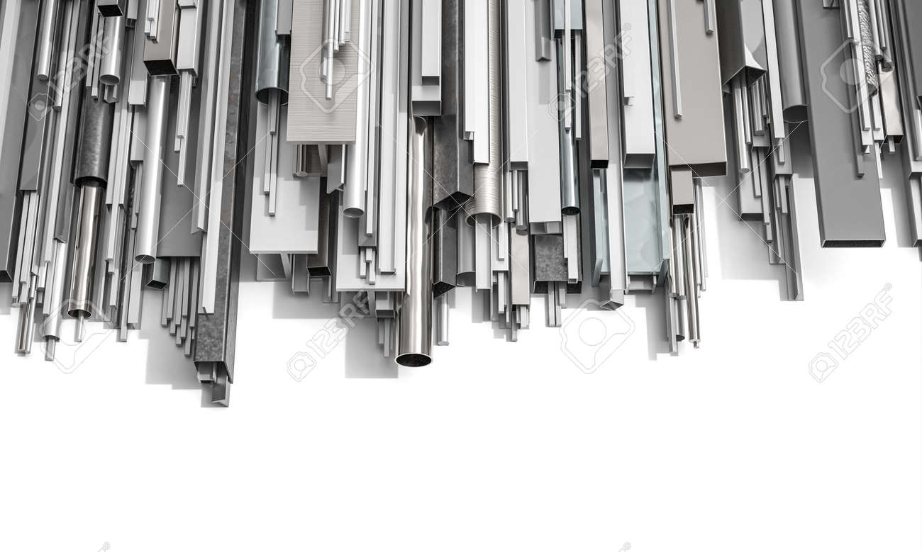 metal profiles of different shapes on a white background. 3d render. - 172161444