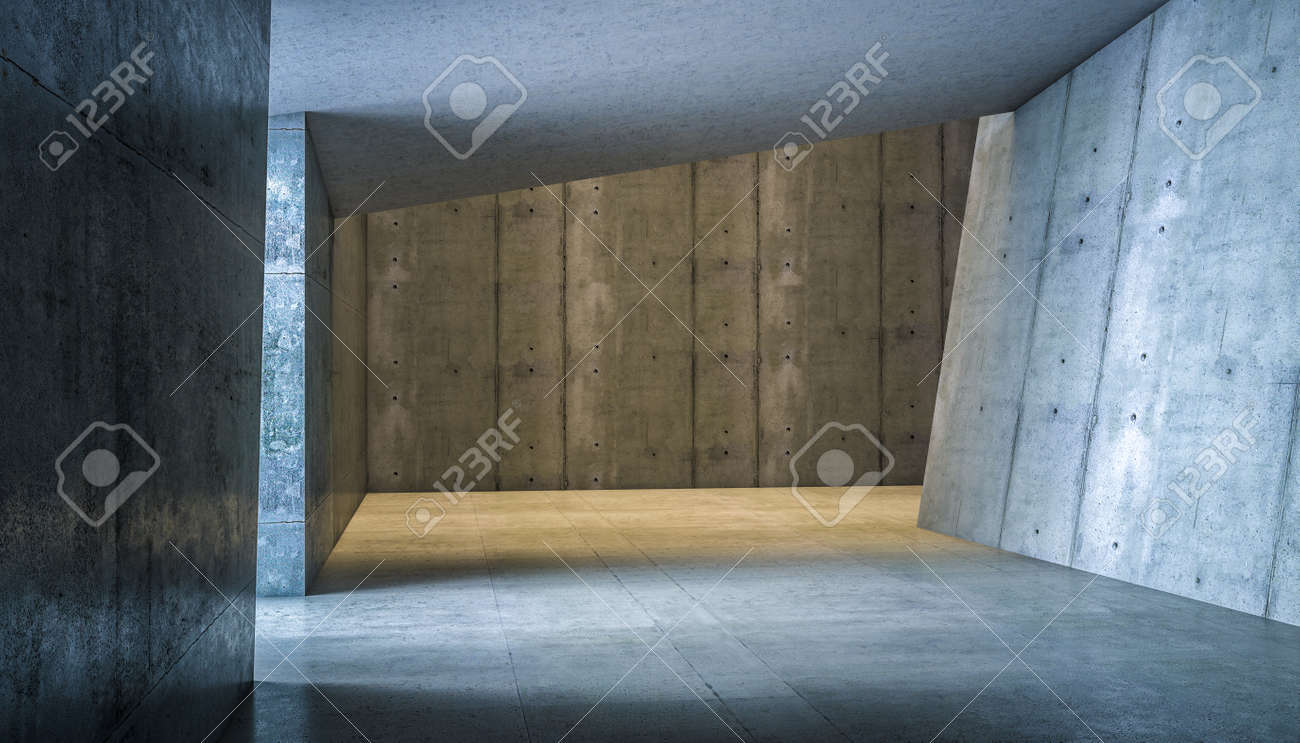 abstract modern interior in reinforced concrete. 3d render - 172307249