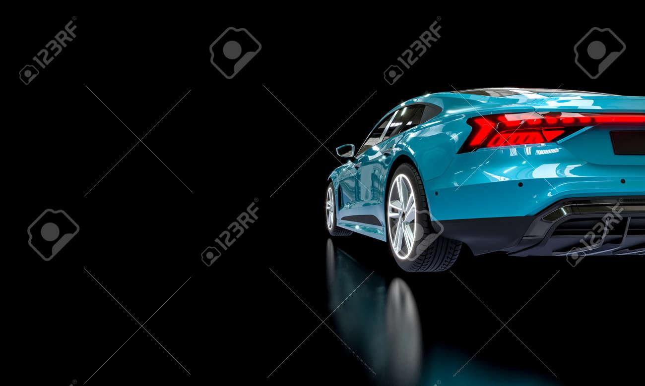 blue super car on a dark background. 3d render. - 172307312