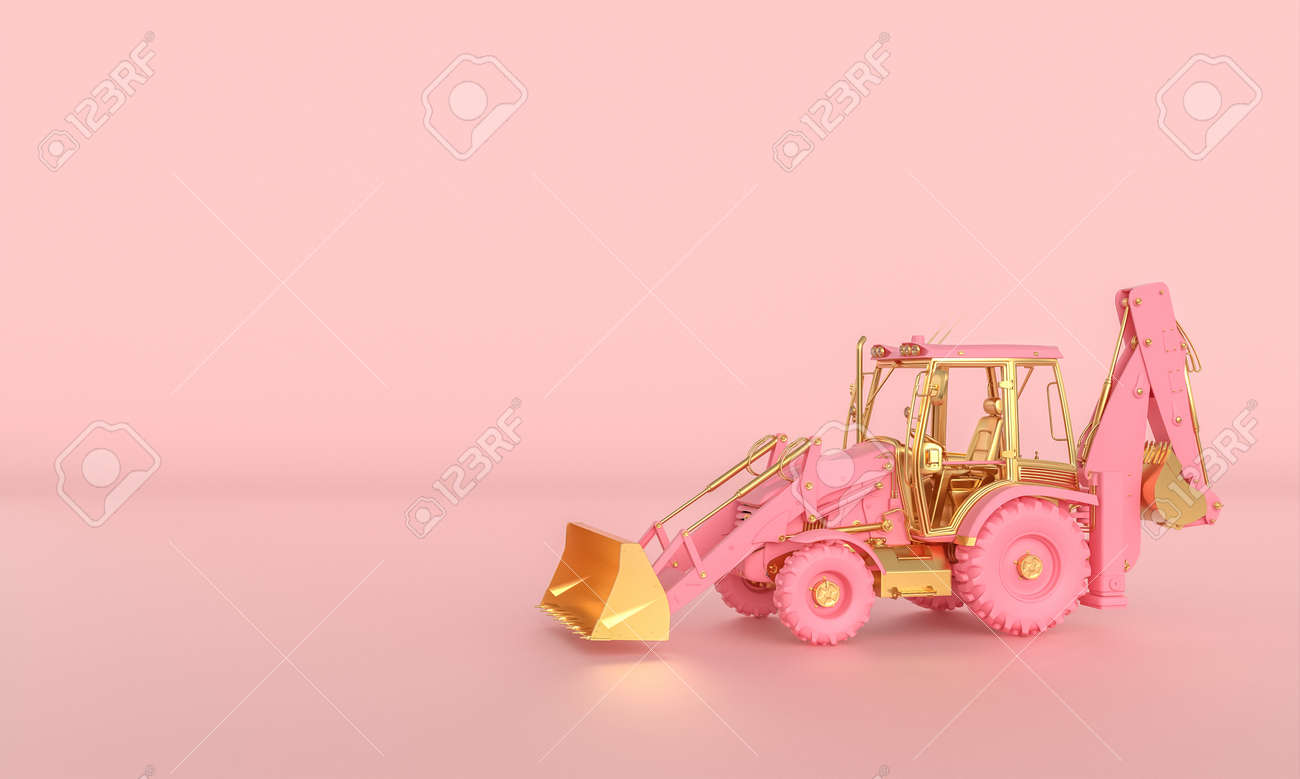 pink and gold excavator on a pink background. 3d render. - 172350733