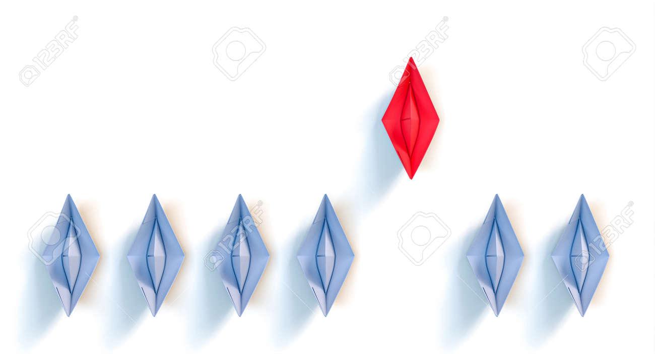 origami paper boats. leadership concept. 3d render - 173236167